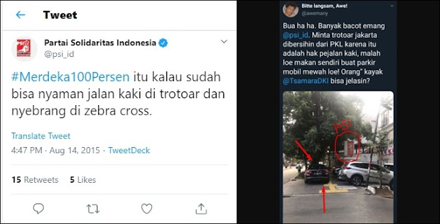 PSI Kena 'Tabok' Tweet Sendiri, Terciduk Parkir Mobil Serobot Trotoar