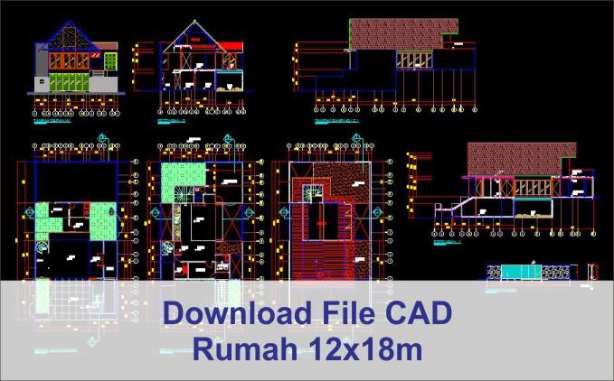 download rumah 12x18 File AutoCad