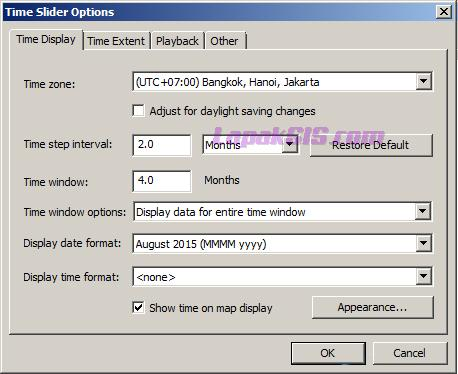 Pengaturan time slider
