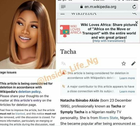 Deletion Of Tacha Page On Wikipedia
