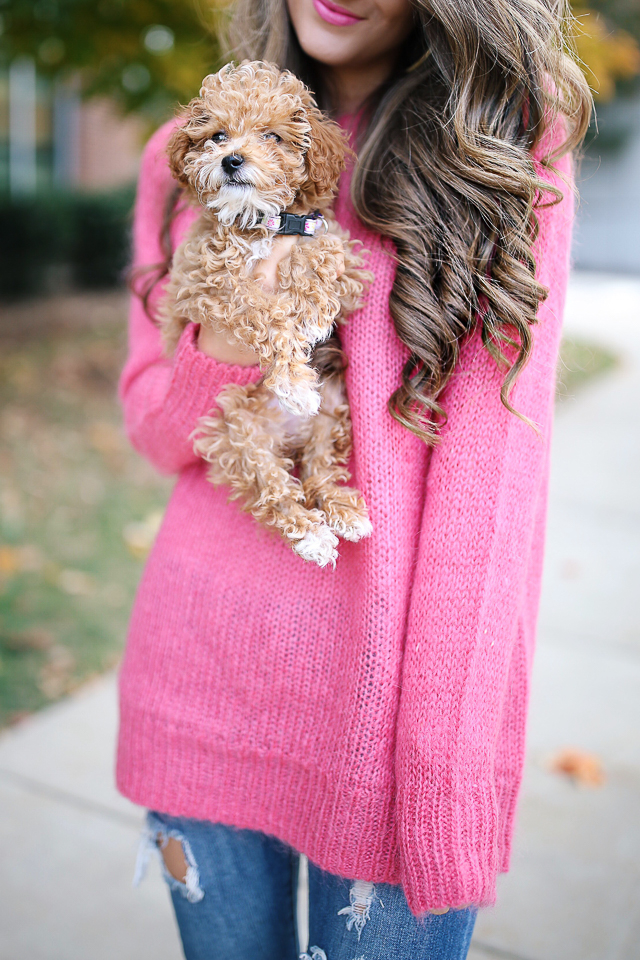 Southern Curls & Pearls: Hot Pink Sweater