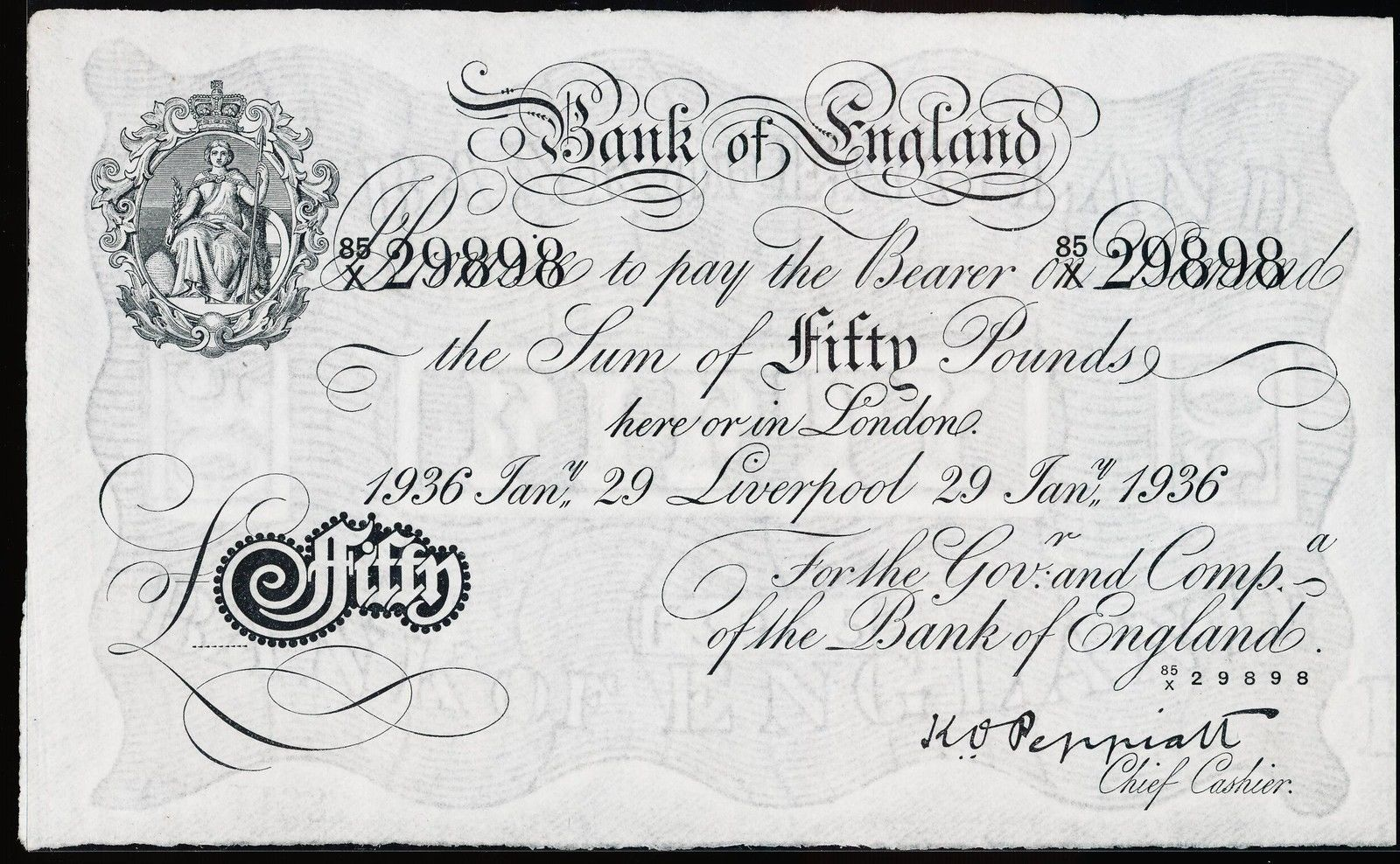 Great Britain 50 Pound Sterling White Note 1936 Bank of