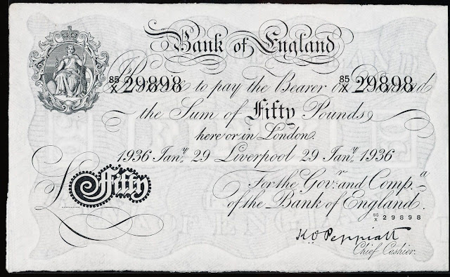 Great Britain 50 Pound Sterling White Note 1936 Bank of England