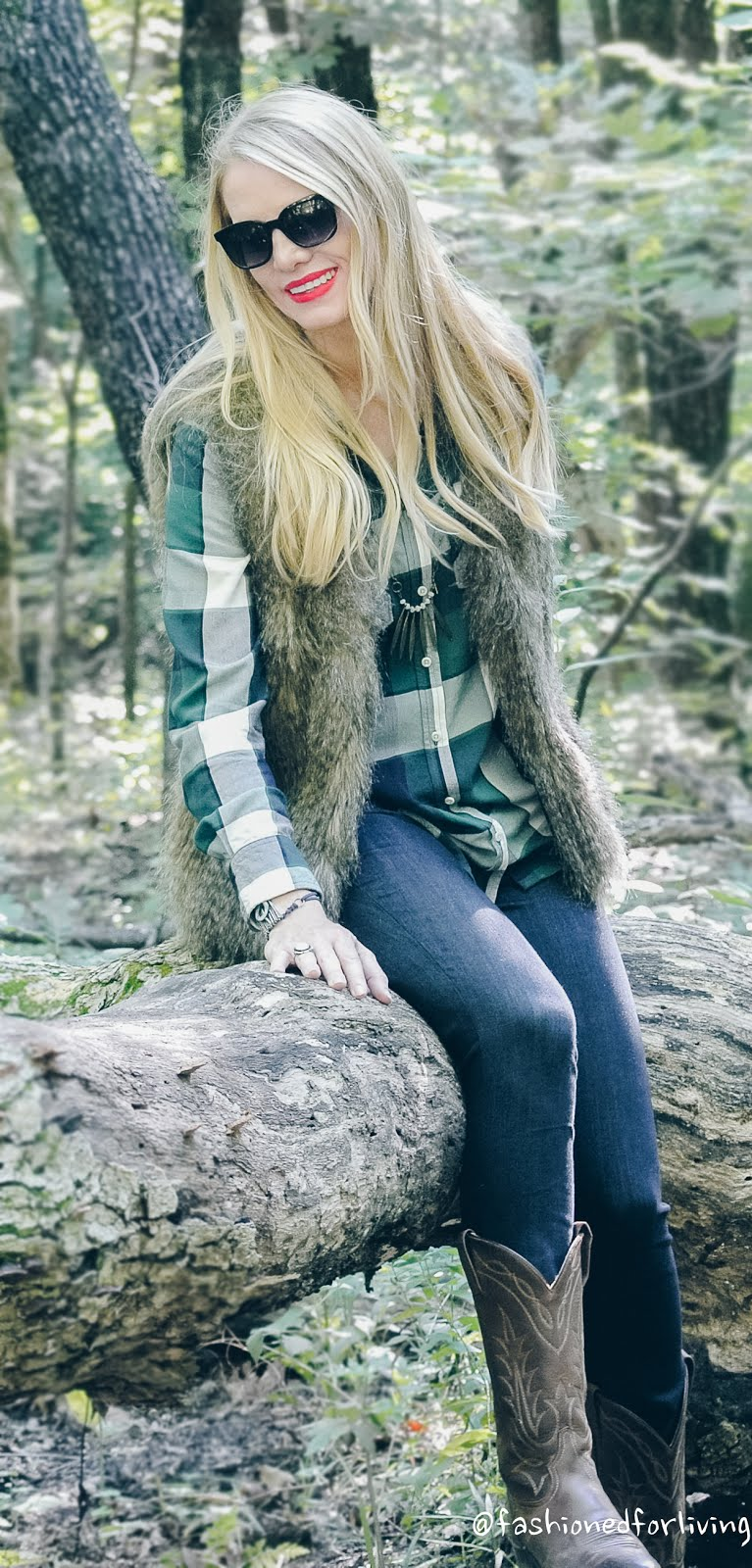 Fashioned For Living Plaid Shirt With Fur Vest Skinny