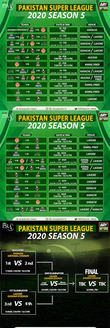 Pakistan Super League (#PSL5) Schedule, Team, Venue, Time ...