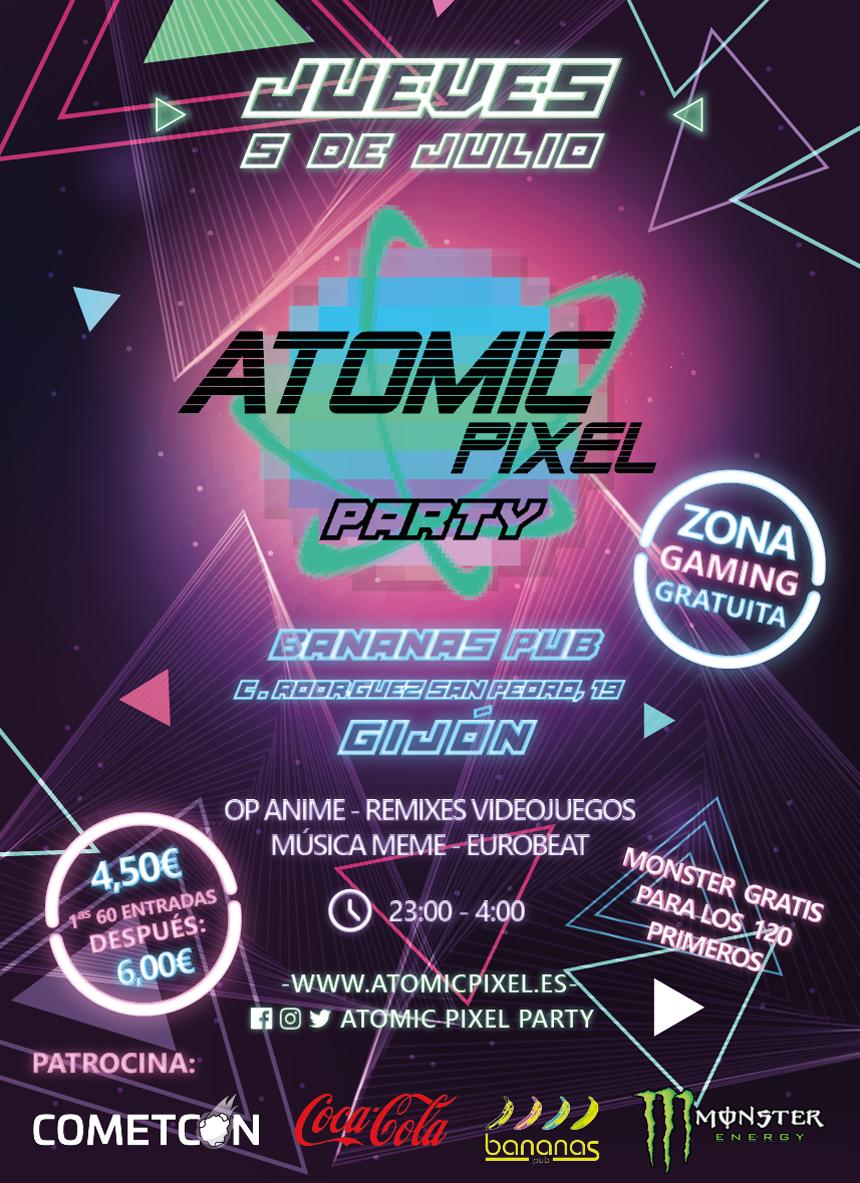 Cartel Atomic Pixel Party Gijón