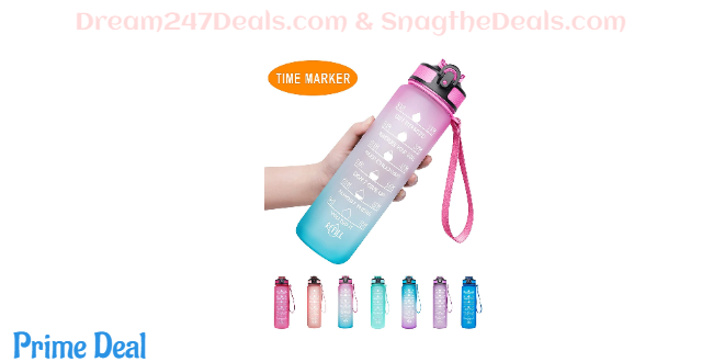 40% OFF Venture Pal 32oz/22oz Motivational Fitness Sports Water Bottle with Time Marker & Straw, Large Wide Mouth Leakproof Durable BPA Free Non-Toxic