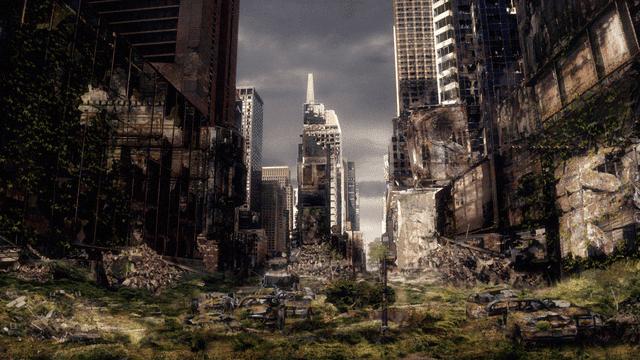 ciudad en ruinas sin humanos edificios derrumbados