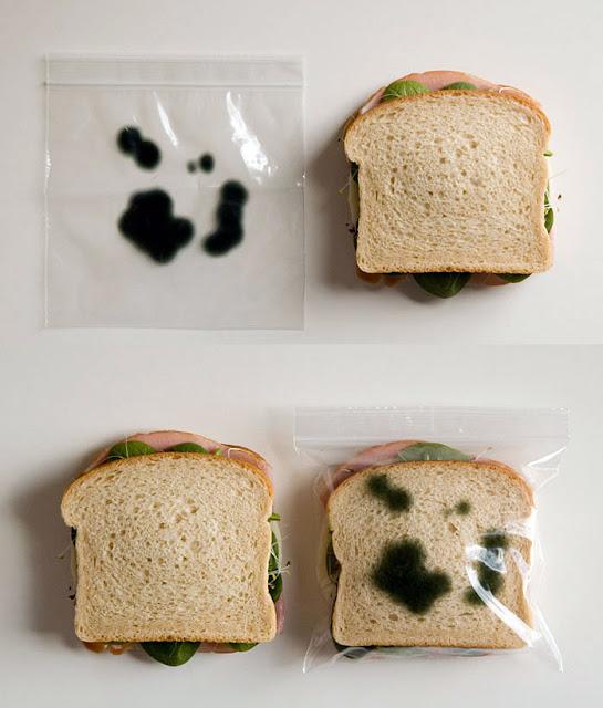 Üzerinde küf resmi olduğu için içindeki sandviçi küflü gösteren poşet