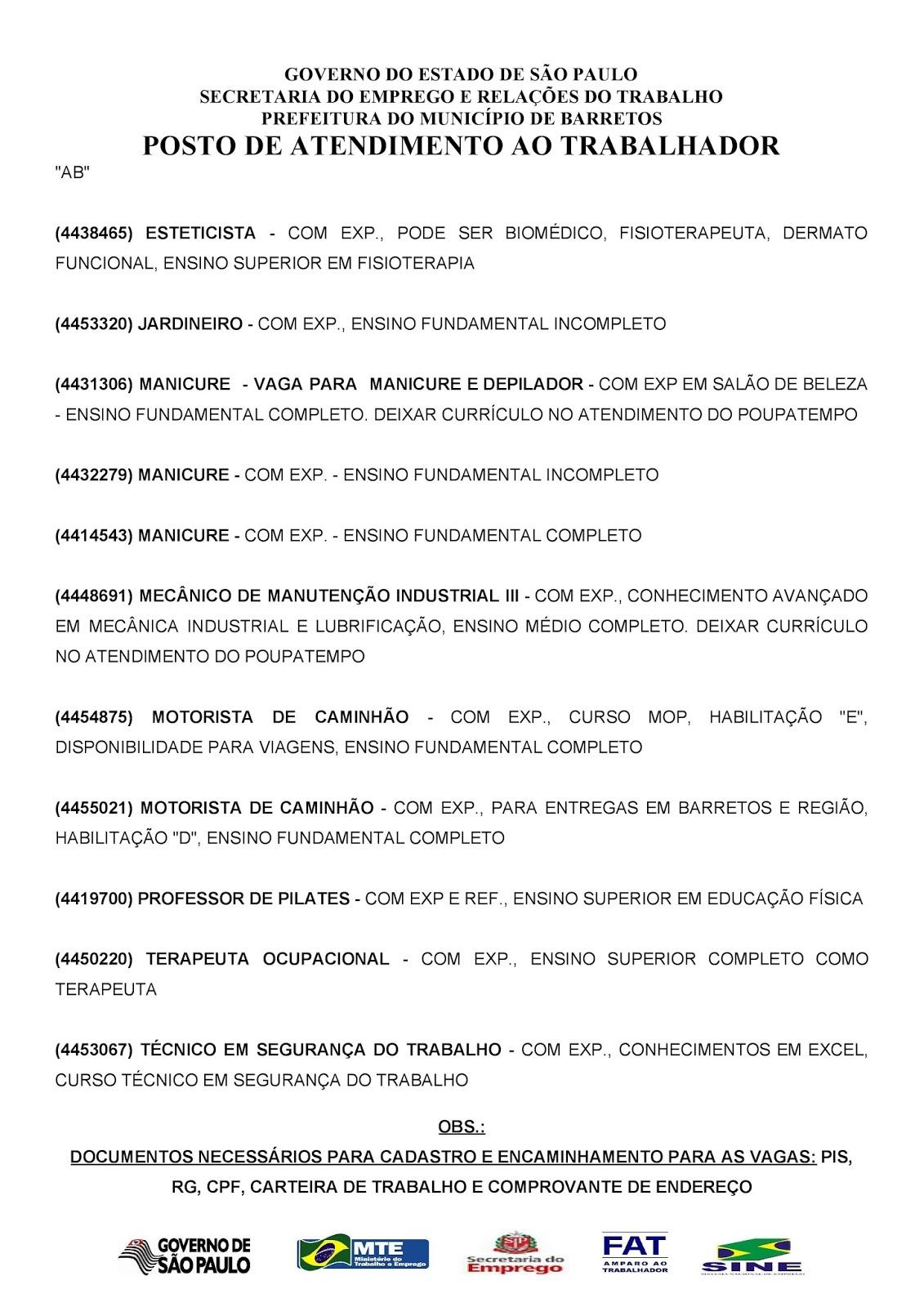 VAGAS DE EMPREGO DO PAT BARRETOS-SP PARA 04/04/2018 QUARTA-FEIRA - PARTE 2