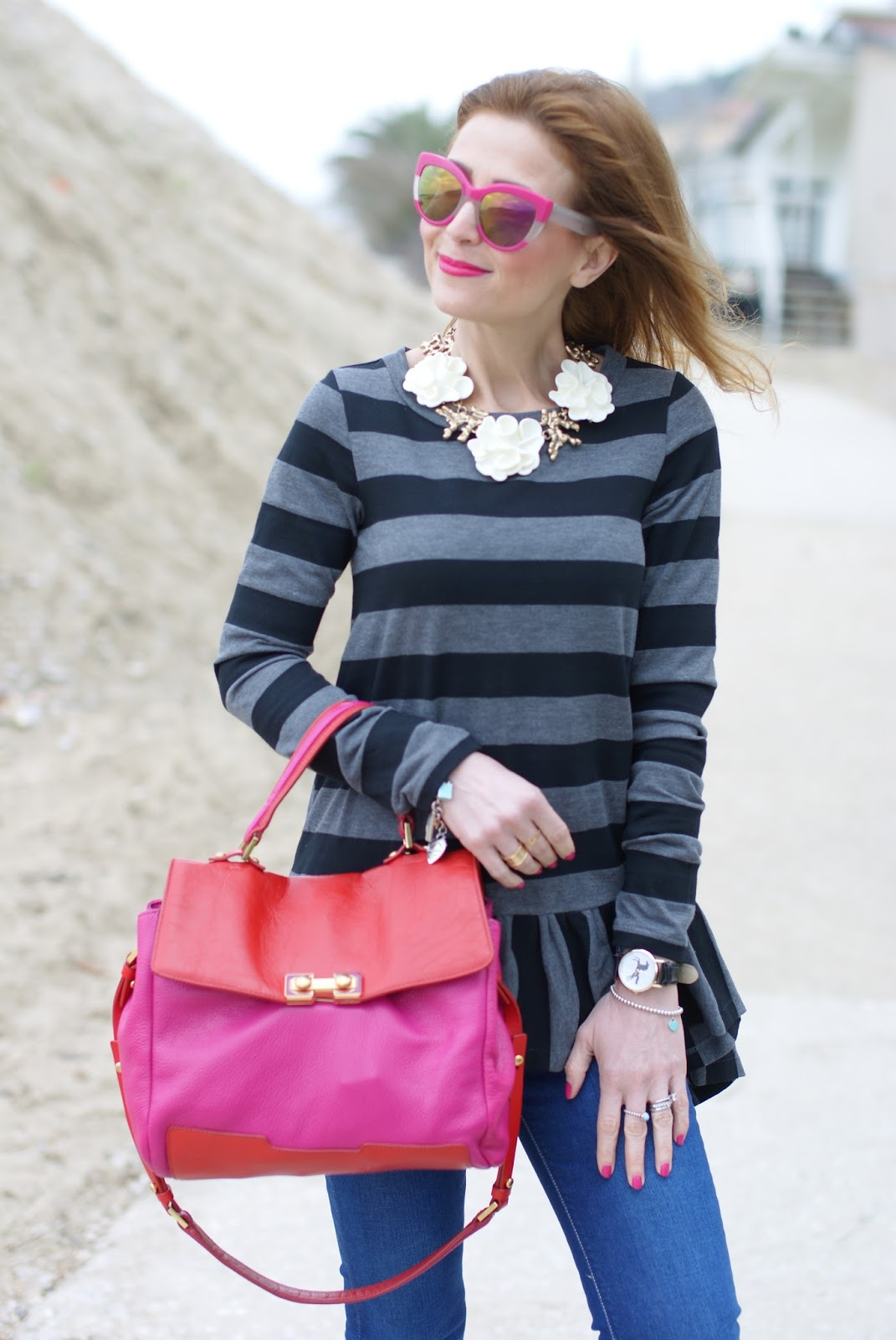Stripes and ruffles outfit on Fashion and Cookies fashion blog, fashion blogger style