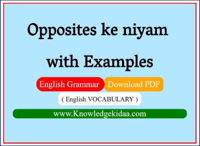Opposites ( विलोम शब्द ) ke niyam with Examples | English VOCABULARY |