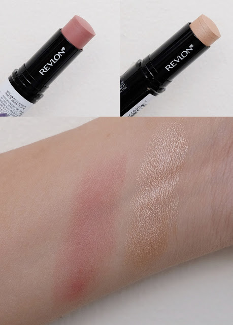 a photo of Photoready Insta-Fix Highlight Stick in Gold Light and Revlon Insta-Fix blush in Berry Kiss review