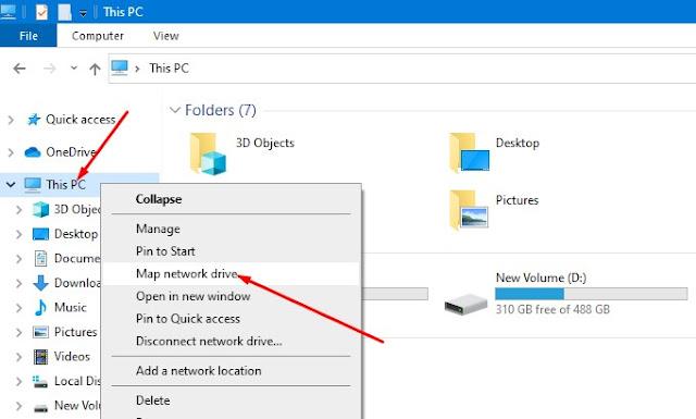 Cara Mapping Drive di Windows 10