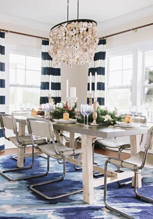Coastal Christmas Dining Room Table Setting