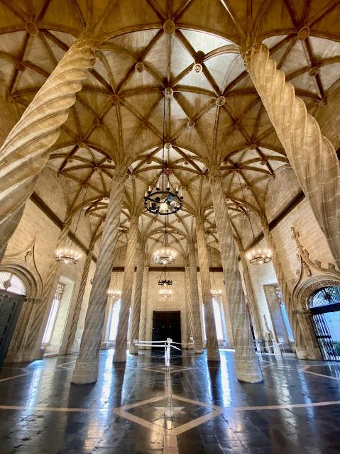 Gothic hall of pillars in La Lonja de la Seda, Valencia, Spain
