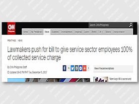 "The usual practice is that only 85 percent of tips and service charge goes to the employees and the remaining 15 percent is collected by the company. In a proposed bill, the proponent seek to give 100 percent of collected tips to service sector employees.  Senate Bill No. 1299, or ""An Act Providing that 100% of the Service Charge Collected in Hotels and Other Establishments Be Distributed to All Covered Employees and for Other Purposes"" was introduced by Senator Joel Villanueva.  Villanueva is the chairperson of the Senate committee on labor, employment and human resources development.  The bill said rank-and-file employees of the service sector receive only 85 percent of the service charge paid by customer in hotels, restaurants, and similar establishments.  ""Unfortunately, some establishments interpret this provision of 85 percent for the staff and 15 percent for the management as a ""minimum standard,"""" Villanueva said in his sponsorship speech. ""There are claims that employers would stipulate in job contracts that 90 percent of the service charges will go to the management and only the remaining 10 percent goes to the employees."" Sponsored Links For more than 40 years, hotel and restaurant workers have long been calling for the passage of a law that will make tips and service charges collected fully distributed among all employees.  Under Section 14 of Presidential Decree 850 signed in December 1975, the collection of service charge was optional, but any amount collected shall be distributed 85 percent and 15 percent in favor of employees.  Villanueva said the bill does not make the collection of service charge mandatory, but should establishments collect it, its total must be given to workers.  In her co-sponsorship speech, Senator Grace Poe said these employees are often under short-term contracts.  ""This bill will help establish an enabling environment to ensure that we provide decent jobs with fair pay to employees in the service sector,"" she said.  She added giving employees 100 percent of service charges would not only help augment their income, but also ""act as an incentive for them to do better.""  The push for the bill comes after the Senate approved the tax reform bill on November 28 which will increase the number of lower-income Filipinos exempted from paying income tax.Source: CNN Philippines   Advertisement Read More:       ©2017 THOUGHTSKOTO"