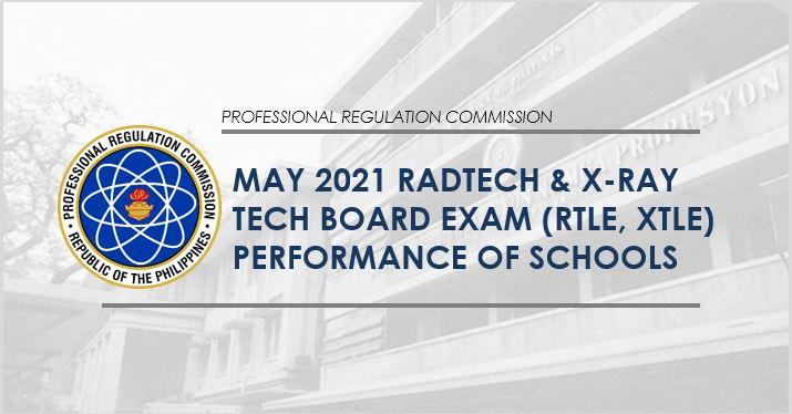 May 2021 Radtech, X-ray tech board exam performance of schools