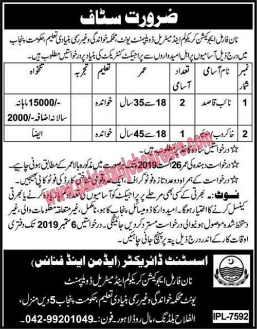 Literacy And Non Formal Basic Education Department | Jobs In Lahore