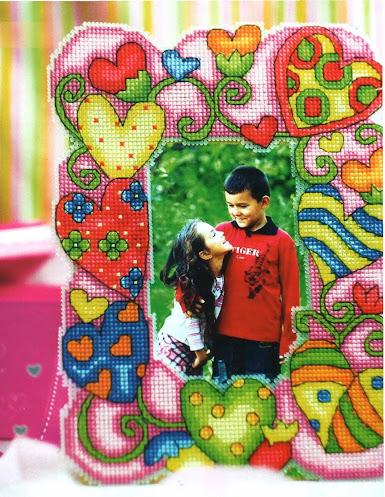 schema punto croce cornice per fotografia per bambini