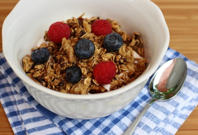 Maple Walnut Granola:  Delicious homemade granola could not be any easier or healthier!  #glutenfree #breakfast #granola