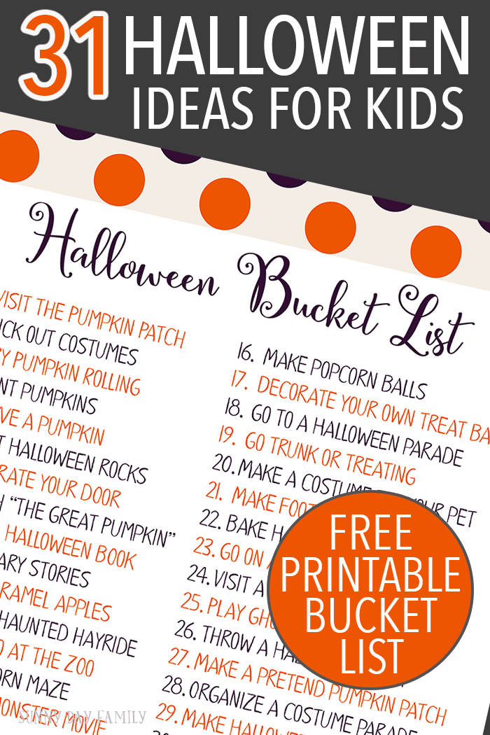 Countdown to Halloween with an activity for every day in October! Fun, easy and classic Halloween activities for kids & families. Includes a free printable Halloween bucket list!
