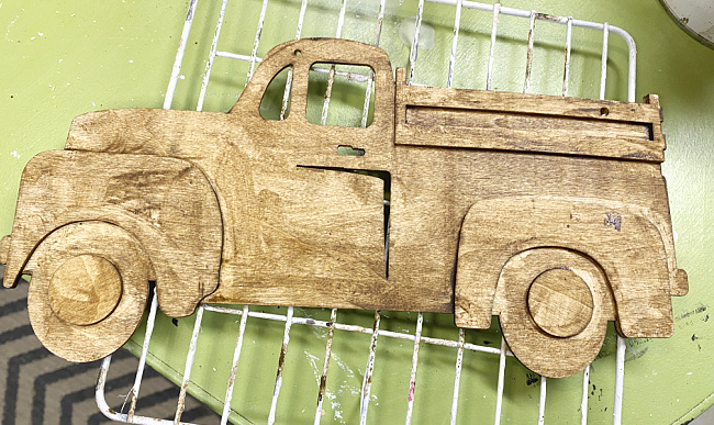 stained wooden truck