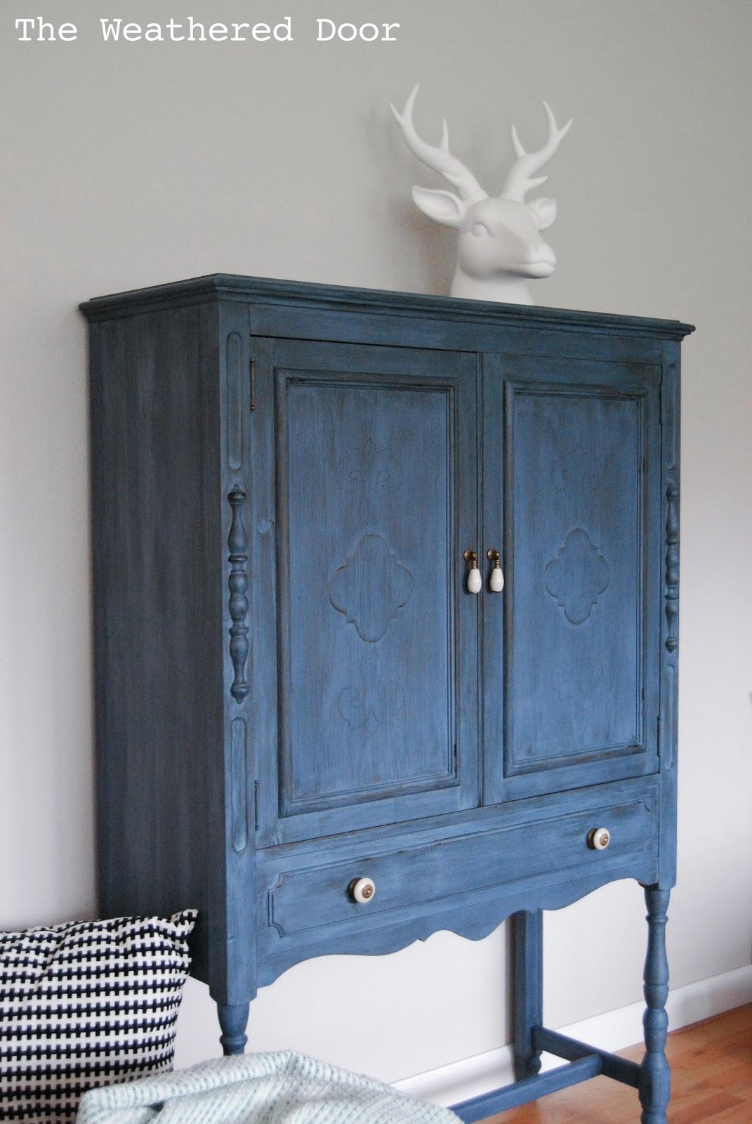 A Deep Blue Milk Paint Cabinet   The Weathered Door