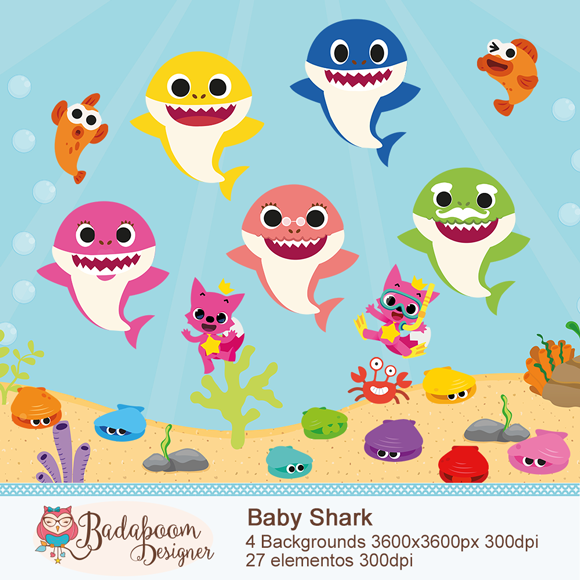 Baby Shark, scrapbook, scrap, scrapbook digital, arte digital, kit digital, baleia bebê, baleia cute, scrap digital, arte personalizada