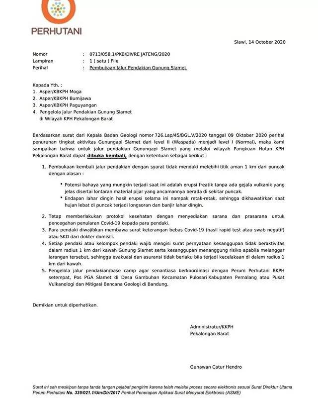 Surat keterangan pembukaan jalur pendakian gunung slamet via guci