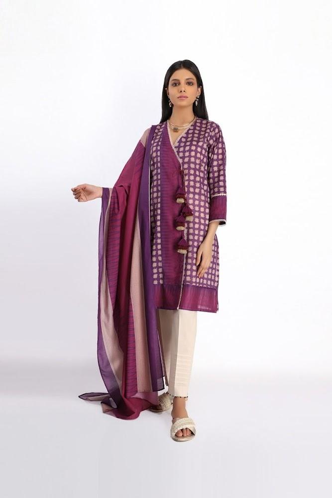 khaadi purple lawn printed shirt dupatta