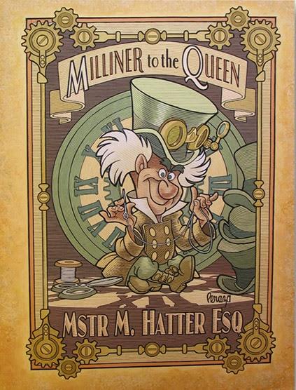 Michael Peraza Milliner to the Queen Mstr M Hatter Mechanical Kingdom Art Artist Print Walt Disney World WDW Disneyland