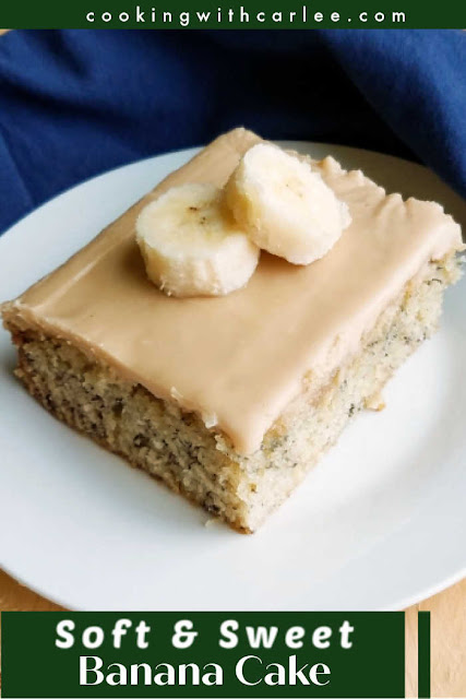 This super moist banana cake is sure to become a instant favorite.  The baking directions may surprise you, but it really works! The results are soft and moist and oh so delicious. We love it it caramel frosting or cream cheese frosting (or any frosting!)