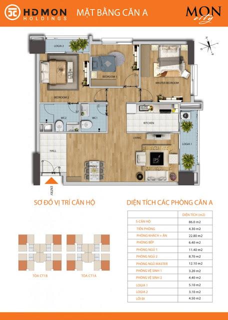 Căn hộ A chung cư Mon city Mỹ Đình- 86 m2 thông thủy