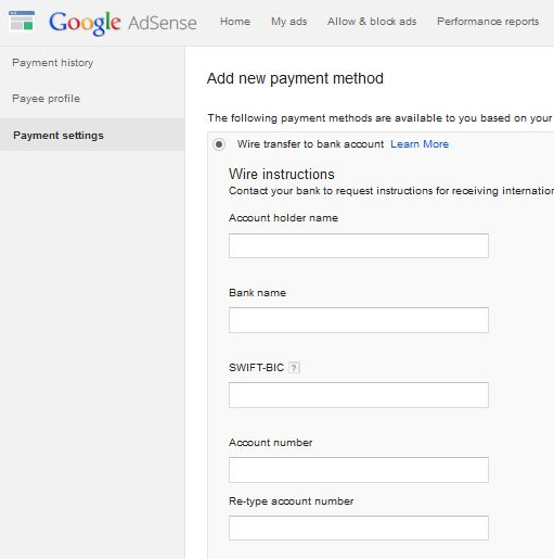adsense wire transfer settings