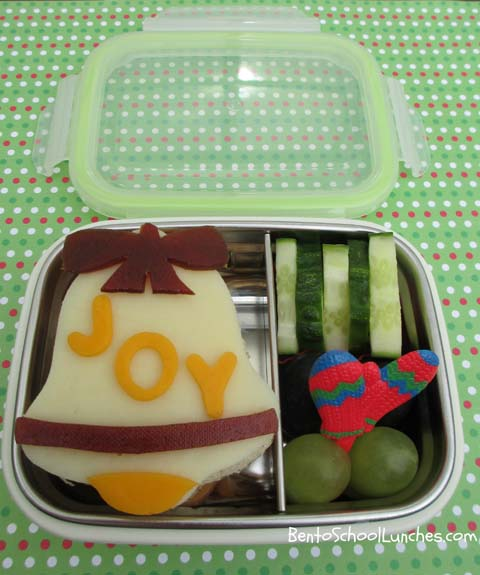 Christmas bell JOY bento lunch