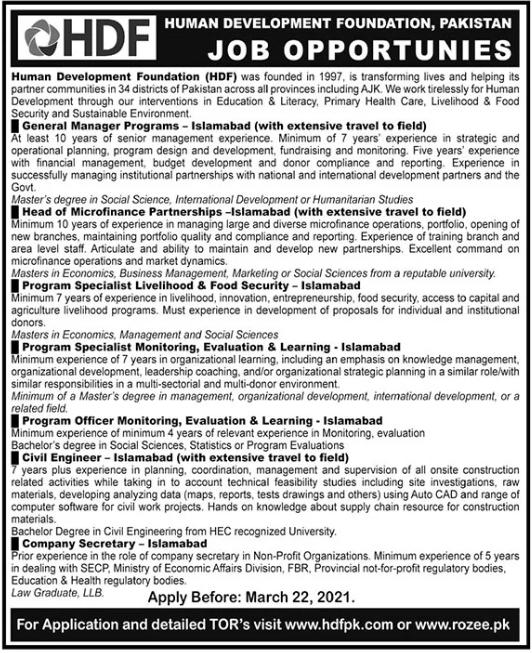 Human Development Foundation HDF Jobs in Islamabad