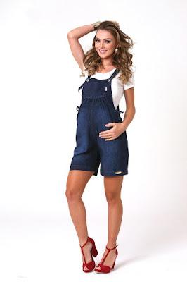 Macacão jeans para grávida.