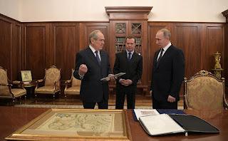 Vladimir Putin, Dmity Medvedev, Mintimer Shaimiyev. Moscow, Kremlin.