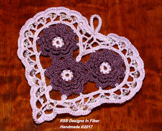 Lavender Irish Crochet Heart with Plum Purple Roses in Threads by Ruth Sandra Sperling - RSS Designs In Fiber