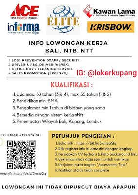 Lowongan Kerja Bali, NTB, NTT Sebagai Security, Driver, Office Boy, dan sales Promotion
