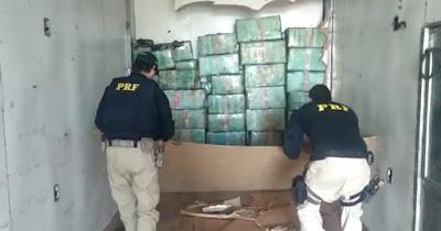 PRF apreende mais de 1 Tonelada de Maconha em caminhão em Barra do Turvo