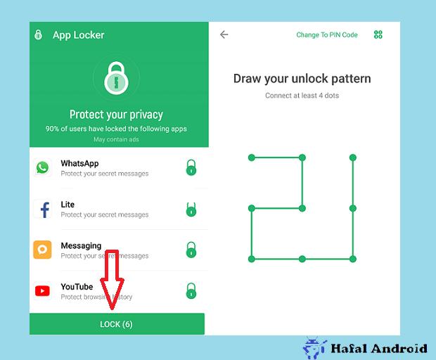 Gambar Pola Pengaman Aplikasi di Xiaomi Yang Dikunci Dengan AppLock