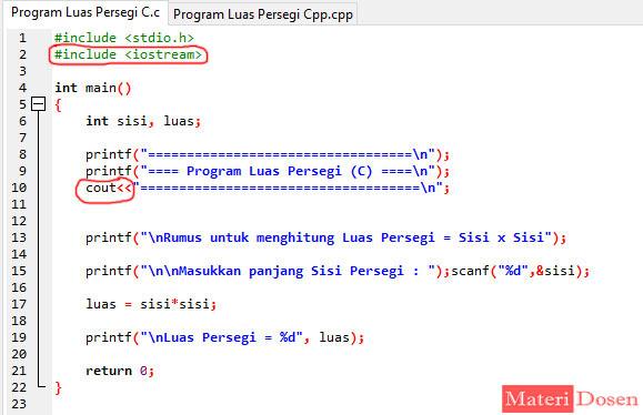 Program Menghitung Luas Persegi Pada Bahasa C