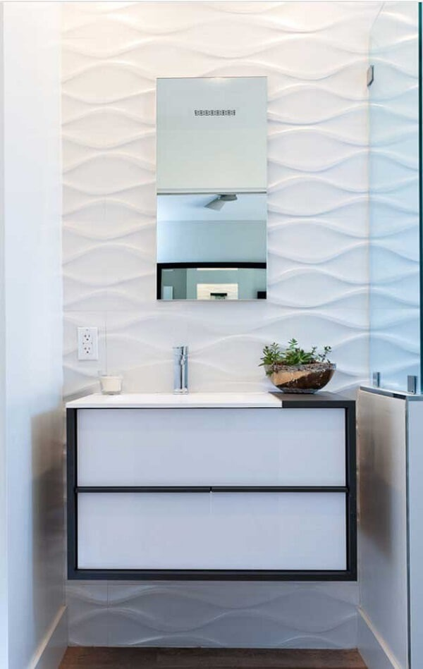 3D bathroom cladding model brings movement to the space