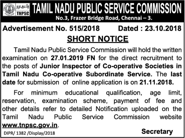TN Govt, TNPSC Junior Inspector of Co-operative Posts Vacancy Notification 23.10.018 (Dailythanthi)