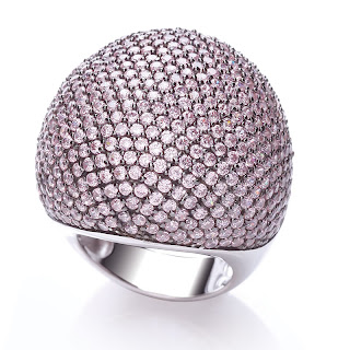 Silver Large Pink Cubic Zirconia Dome Cocktail Ring