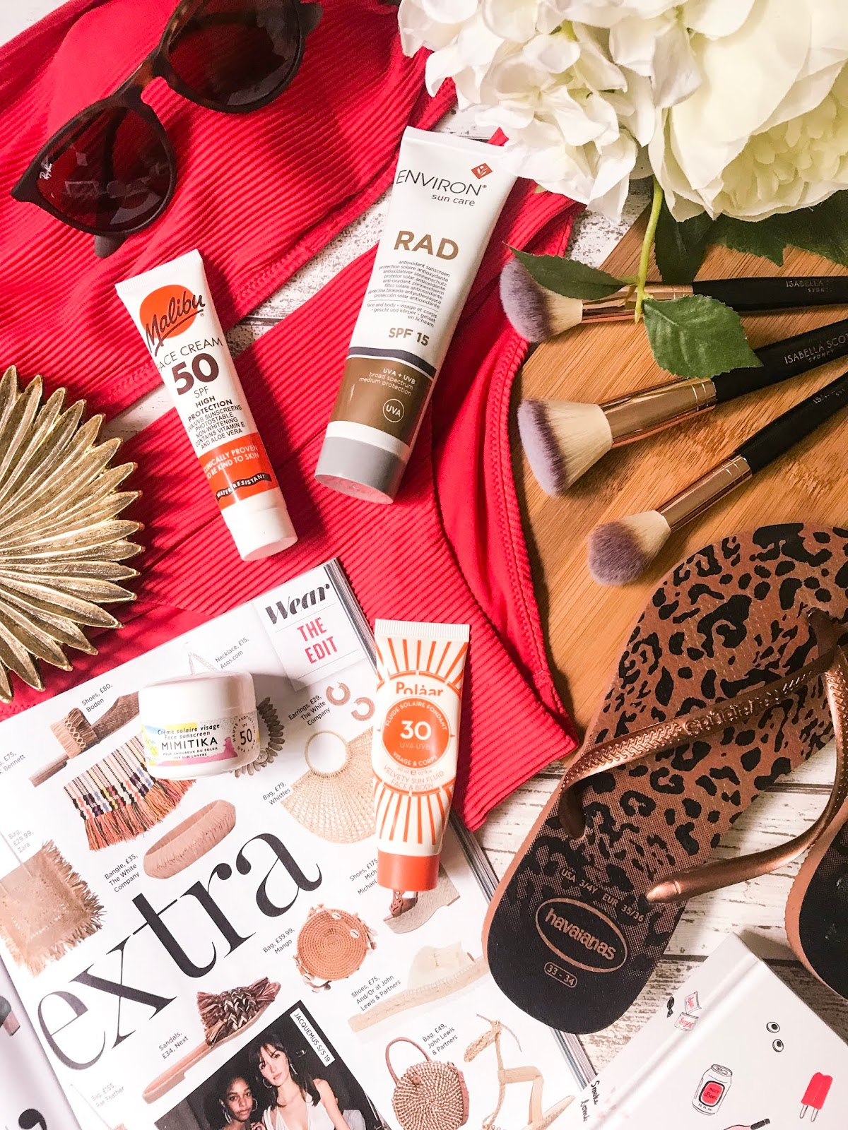 suncreens flatlay with 4 different sun creams