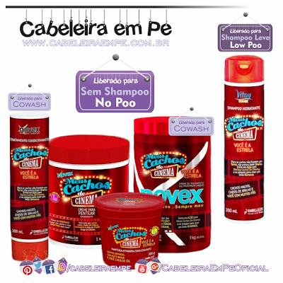Linha Cachos de Cinema - Novex (Embelleze) - Shampoo Liberado para Low Poo - Condicionador, Máscara, Manteiga e Creme para pentear liberados para no Poo