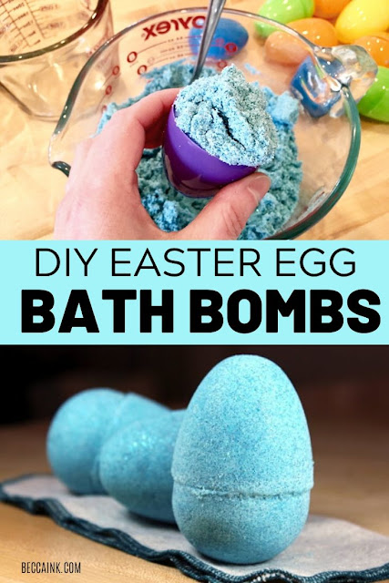 Upcycle plastic Easter eggs to use as DIY bath bomb molds for non-candy Easter basket fillers. These DIY Easter egg bath bombs for Easter are made using plastic Dollar Store Easter eggs as bath bomb molds and make fun non-candy Easter basket fillers for the holiday. Fun glitter DIY easter egg bath bombs made with eco-friendly, biodegradable glitter and moisturizing skin care ingredients for dry skin. Make this bath bomb recipe for Easter as a fun family activity with the kids for family time!